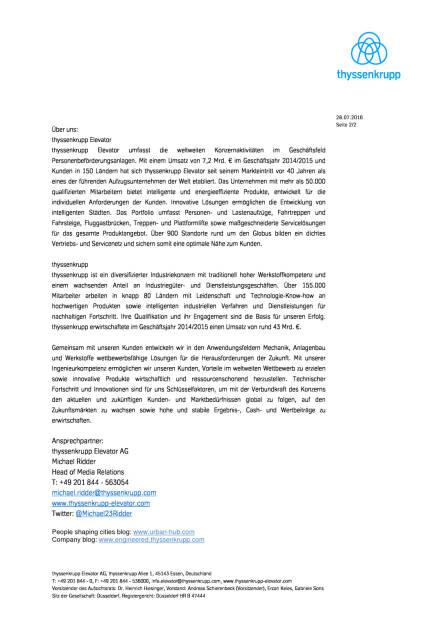 thyssenkrupp: Elevator World zeichnet Transportlösungen in Italien aus, Seite 2/2, komplettes Dokument unter http://boerse-social.com/static/uploads/file_1519_thyssenkrupp_elevator_world_zeichnet_transportlosungen_in_italien_aus.pdf (28.07.2016)
