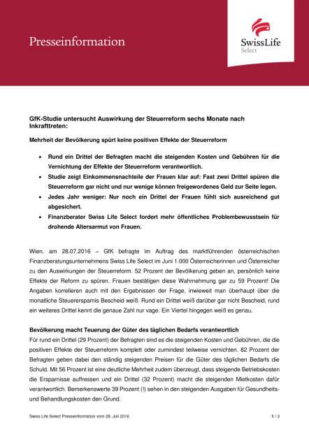 Swiss Life Select:  GfK-Studie zur Steuerreform, Seite 1/3, komplettes Dokument unter http://boerse-social.com/static/uploads/file_1520_swiss_life_select_gfk-studie_zur_steuerreform.pdf (28.07.2016)