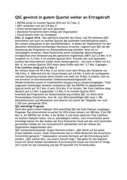 QSC: 2. Quartal 2016, Seite 1/2, komplettes Dokument unter http://boerse-social.com/static/uploads/file_1574_qsc_2_quartal_2016.pdf (08.08.2016)