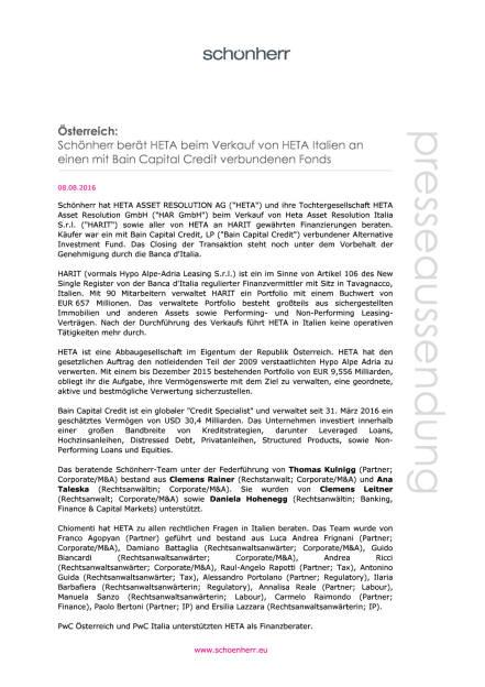 Schönherr berät HETA beim Verkauf von HETA Italien, Seite 1/2, komplettes Dokument unter http://boerse-social.com/static/uploads/file_1577_schonherr_berat_heta_beim_verkauf_von_heta_italien.pdf (08.08.2016)