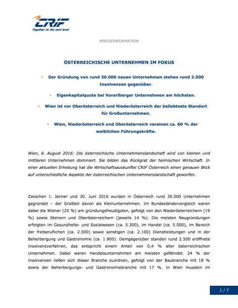 CRIF: Österreichische Unternehmen im Focus, Seite 1/7, komplettes Dokument unter http://boerse-social.com/static/uploads/file_1578_crif_osterreichische_unternehmen_im_focus.pdf (08.08.2016)