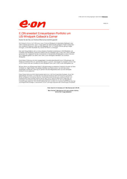 E.ON erweitert Erneuerbaren-Portfolio, Seite 1/1, komplettes Dokument unter http://boerse-social.com/static/uploads/file_1579_eon_erweitert_erneuerbaren-portfolio.pdf (08.08.2016)