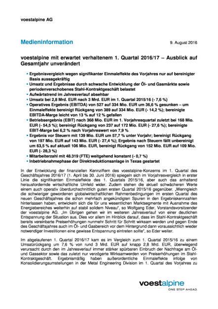 voestalpine: erwartet verhaltenes 1. Quartal 2016/17, Seite 1/3, komplettes Dokument unter http://boerse-social.com/static/uploads/file_1583_voestalpine_erwartet_verhaltenes_1_quartal_201617.pdf (09.08.2016)