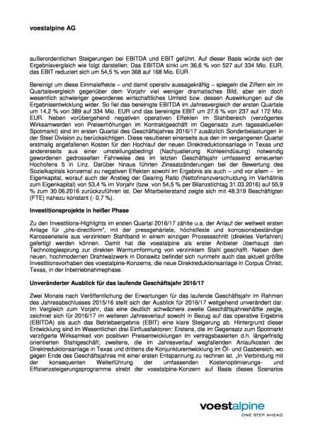 voestalpine: erwartet verhaltenes 1. Quartal 2016/17, Seite 2/3, komplettes Dokument unter http://boerse-social.com/static/uploads/file_1583_voestalpine_erwartet_verhaltenes_1_quartal_201617.pdf (09.08.2016)