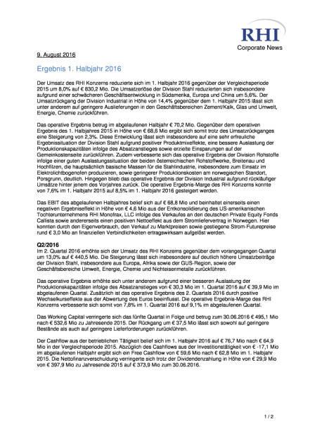 RHI AG: Ergebnis für das 1. Halbjahr 2016, Seite 1/2, komplettes Dokument unter http://boerse-social.com/static/uploads/file_1582_rhi_ag_ergebnis_fur_das_1_halbjahr_2016.pdf (09.08.2016)