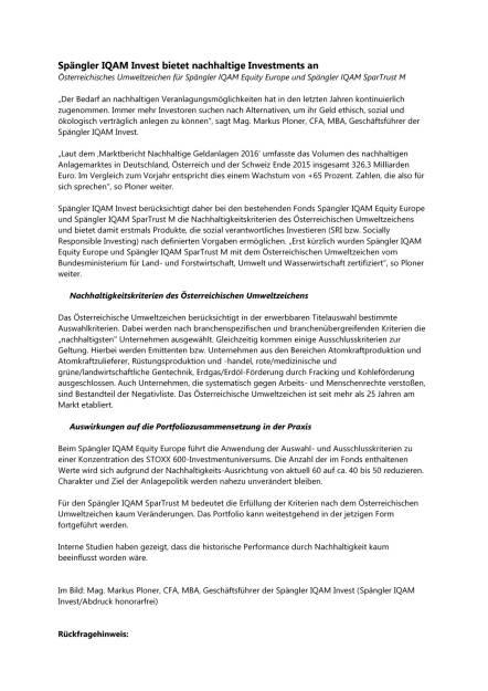 Spängler IQAM Invest bietet nachhaltige Investments an, Seite 1/3, komplettes Dokument unter http://boerse-social.com/static/uploads/file_1584_spangler_iqam_invest_bietet_nachhaltige_investments_an.pdf (09.08.2016)