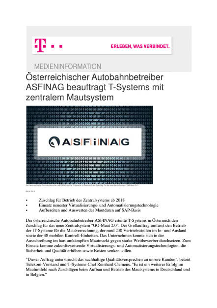 Deutsche Telekom: Asfinag beauftragt T-Systems mit zentralem Mautsystem, Seite 1/2, komplettes Dokument unter http://boerse-social.com/static/uploads/file_1585_deutsche_telekom_asfinag_beauftragt_t-systems_mit_zentralem_mautsystem.pdf (09.08.2016)