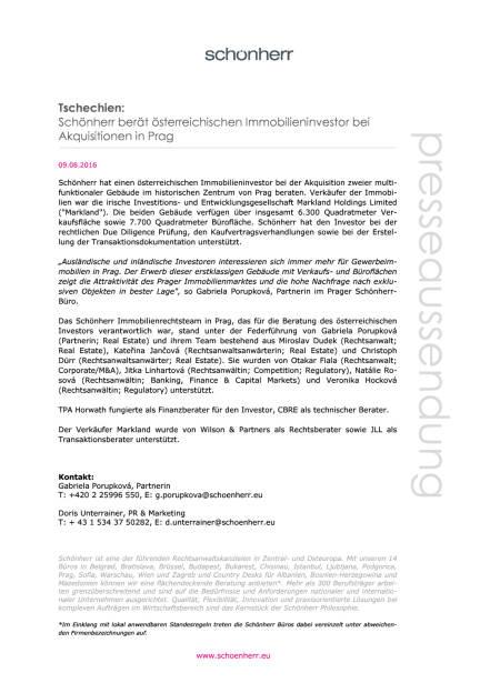 Schönherr berät österreichischen Immobilieninvestor bei Akquisitionen in Prag, Seite 1/1, komplettes Dokument unter http://boerse-social.com/static/uploads/file_1586_schonherr_berat_osterreichischen_immobilieninvestor_bei_akquisitionen_in_prag.pdf (09.08.2016)