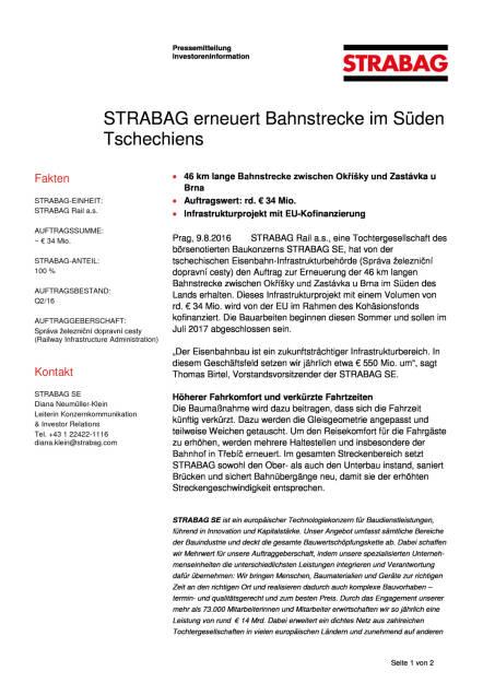 Strabag erneuert Bahnstrecke im Süden Tschechiens, Seite 1/2, komplettes Dokument unter http://boerse-social.com/static/uploads/file_1587_strabag_erneuert_bahnstrecke_im_suden_tschechiens.pdf (09.08.2016)
