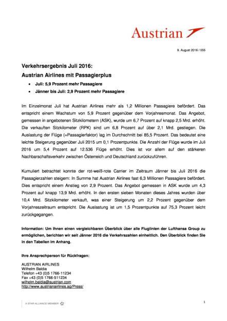 Austrian Airlines: Verkehrsergebnis Juli 2016, Seite 1/3, komplettes Dokument unter http://boerse-social.com/static/uploads/file_1588_austrian_airlines_verkehrsergebnis_juli_2016.pdf (09.08.2016)