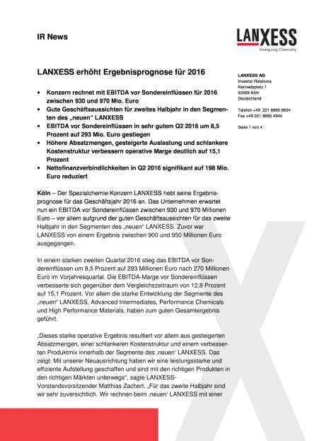 Lanxess erhöht Ergebnisprognose für 2016, Seite 1/4, komplettes Dokument unter http://boerse-social.com/static/uploads/file_1592_lanxess_erhoht_ergebnisprognose_fur_2016.pdf (10.08.2016)