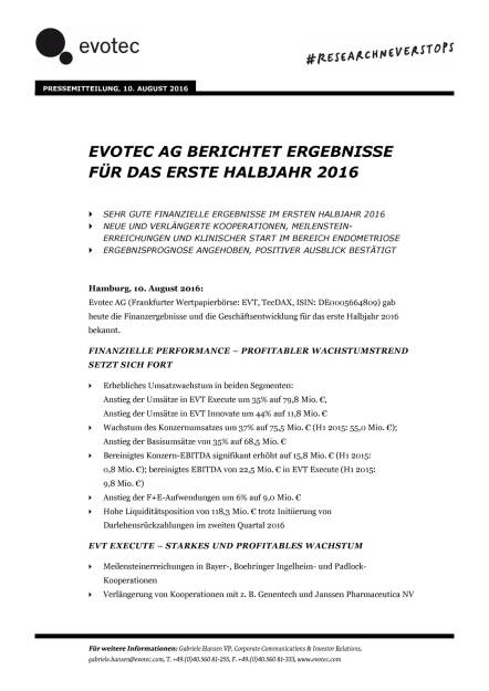 Evotec: 1 Halbjahr 2016, Seite 1/7, komplettes Dokument unter http://boerse-social.com/static/uploads/file_1593_evotec_1_halbjahr_2016.pdf (10.08.2016)
