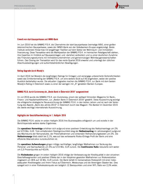 Bawag P.S.K. Halbjahresergebnis, Seite 2/10, komplettes Dokument unter http://boerse-social.com/static/uploads/file_1597_bawag_psk_halbjahresergebnis.pdf (10.08.2016)