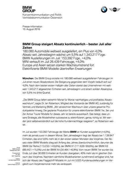 BMW Group: Vertriebsmeldung Juli 2016, Seite 1/4, komplettes Dokument unter http://boerse-social.com/static/uploads/file_1599_bmw_group_vertriebsmeldung_juli_2016.pdf (10.08.2016)