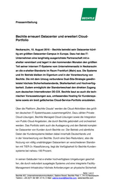 Bechtle erneuert Datacenter und erweitert Cloud-Portfolio, Seite 1/2, komplettes Dokument unter http://boerse-social.com/static/uploads/file_1601_bechtle_erneuert_datacenter_und_erweitert_cloud-portfolio.pdf (10.08.2016)