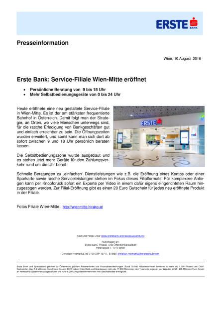 Erste Bank: Service-Filiale Wien-Mitte eröffnet, Seite 1/1, komplettes Dokument unter http://boerse-social.com/static/uploads/file_1602_erste_bank_service-filiale_wien-mitte_eroffnet.pdf (10.08.2016)