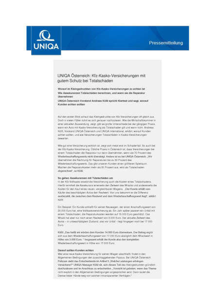 Uniqa Österreich: Kfz-Kasko-Versicherungen, Seite 1/2, komplettes Dokument unter http://boerse-social.com/static/uploads/file_1603_uniqa_osterreich_kfz-kasko-versicherungen.pdf (10.08.2016)