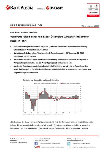 Bank Austria: Keine Spur von  Brexit-Folgen in Österreichs Wirtschaft, Seite 1/5, komplettes Dokument unter http://boerse-social.com/static/uploads/file_1619_bank_austria_keine_spur_von_brexit-folgen_in_osterreichs_wirtschaft.pdf (16.08.2016)