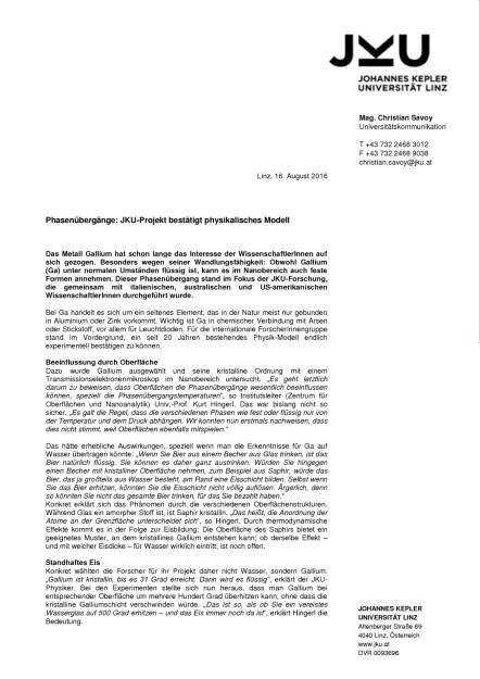 JKU-Projekt bestätigt physikalisches Modell, Seite 1/2, komplettes Dokument unter http://boerse-social.com/static/uploads/file_1620_jku-projekt_bestatigt_physikalisches_modell.pdf (16.08.2016)