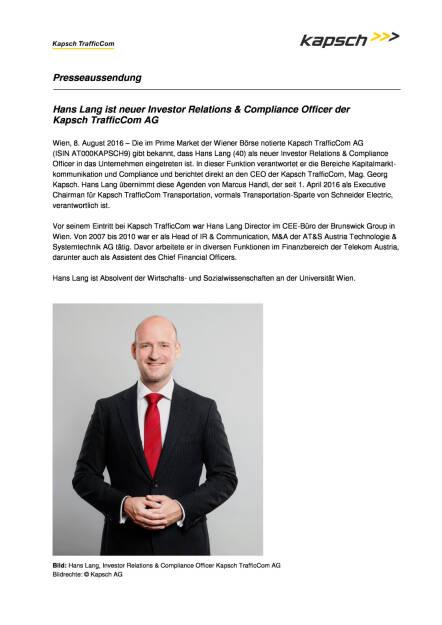 Kapsch TrafficCom AG : Hans Lang ist neuer Investor Relations & Compliance Officer, Seite 1/2, komplettes Dokument unter http://boerse-social.com/static/uploads/file_1622_kapsch_trafficcom_ag_hans_lang_ist_neuer_investor_relations_compliance_officer.pdf (16.08.2016)