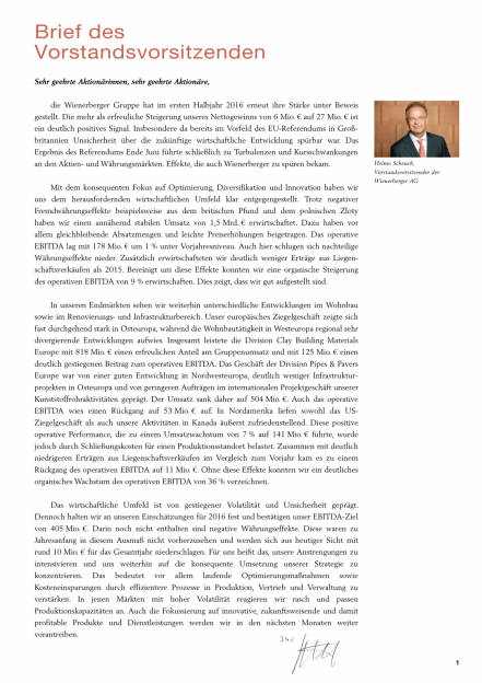 Wienerberger: 1. Halbjahr 2016, Seite 3/34, komplettes Dokument unter http://boerse-social.com/static/uploads/file_1623_wienerberger_1_halbjahr_2016.pdf (17.08.2016)
