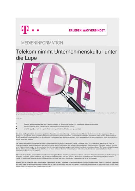 Deutsche Telekom nimmt Unternehmenskultur unter die Lupe, Seite 1/2, komplettes Dokument unter http://boerse-social.com/static/uploads/file_1625_deutsche_telekom_nimmt_unternehmenskultur_unter_die_lupe.pdf (17.08.2016)