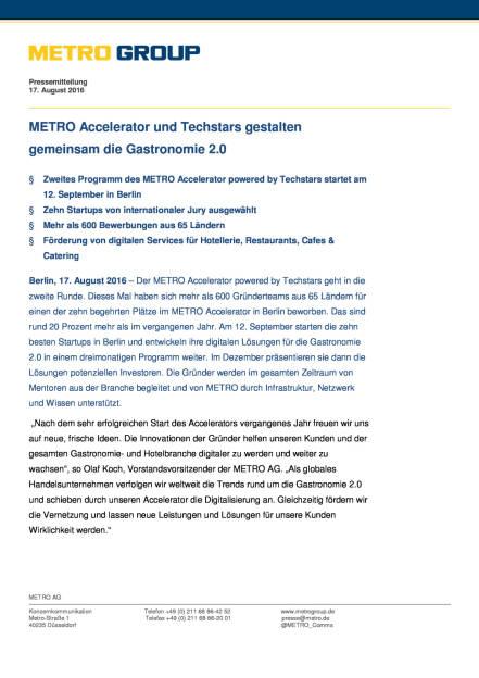 Metro Accelerator und Techstars: Gastronomie 2.0, Seite 1/3, komplettes Dokument unter http://boerse-social.com/static/uploads/file_1627_metro_accelerator_und_techstars_gastronomie_20.pdf (17.08.2016)