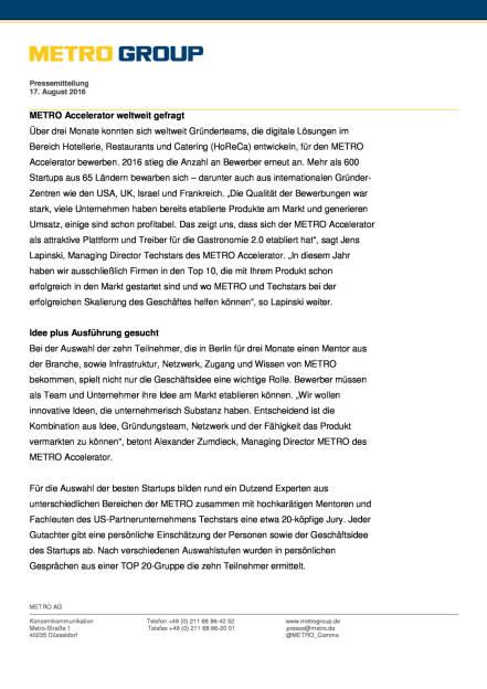 Metro Accelerator und Techstars: Gastronomie 2.0, Seite 2/3, komplettes Dokument unter http://boerse-social.com/static/uploads/file_1627_metro_accelerator_und_techstars_gastronomie_20.pdf (17.08.2016)