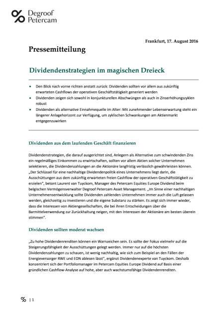 Degroof Petercam: Dividendenstrategien im magischen Dreieck, Seite 1/3, komplettes Dokument unter http://boerse-social.com/static/uploads/file_1632_degroof_petercam_dividendenstrategien_im_magischen_dreieck.pdf (17.08.2016)