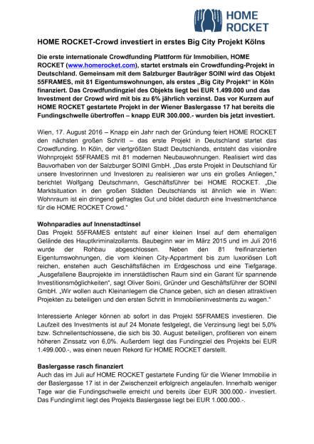 Home Rocket: Erstes Projekt in Deutschland, Seite 1/2, komplettes Dokument unter http://boerse-social.com/static/uploads/file_1631_home_rocket_erstes_projekt_in_deutschland.pdf (17.08.2016)