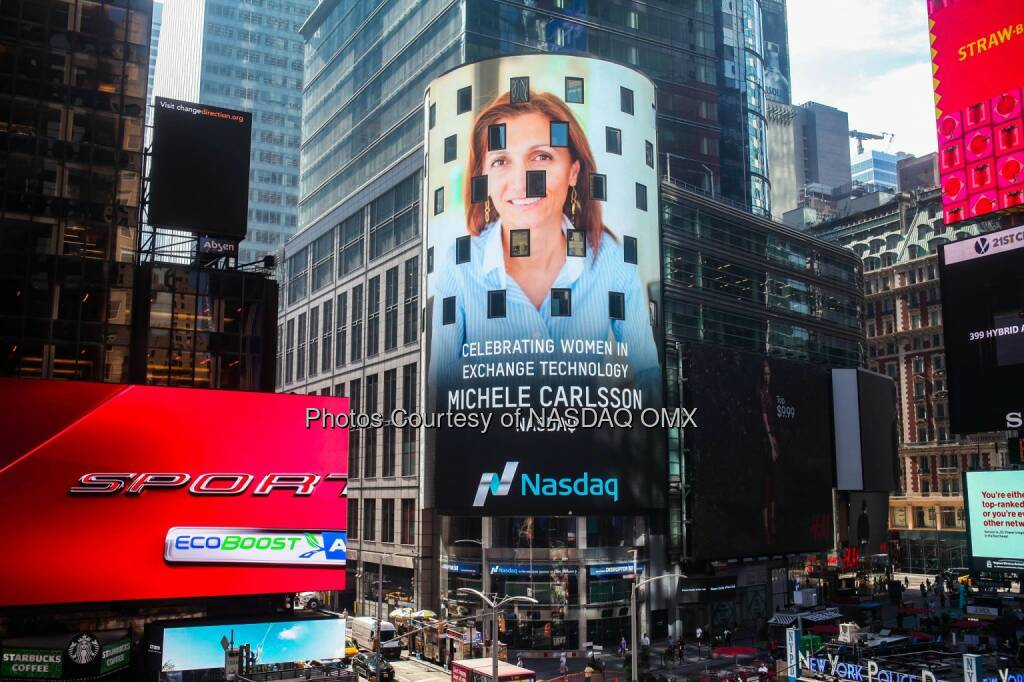 Celebrating our own Michele Carlsson, live in Times Square #WomeninTech - Read how she has become a driving force of our Tech business in the Middle East & Africa:http://spr.ly/6182BNLog  Source: http://facebook.com/NASDAQ (26.08.2016)