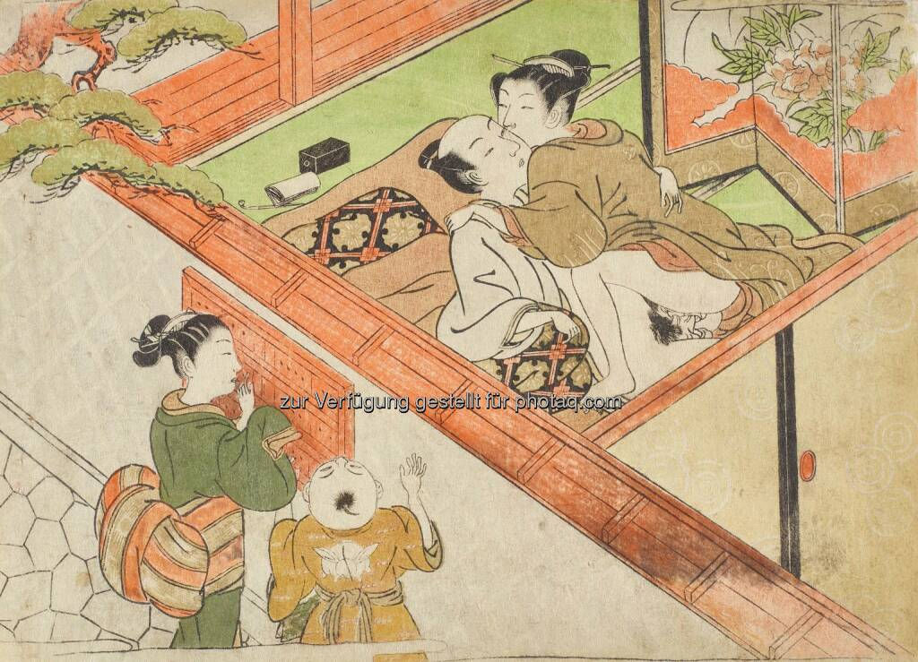 Isoda Koryūsai (1735–1790) Liebespaar mit jungen Zusehern, um 1775 Farbholzschnitt : MAK zeigt Shunga. Erotische Kunst aus Japan : Fotocredit: ©Leopold Privatsammlung, Wien/MAK/Georg Mayer, © Aussendung (30.08.2016)
