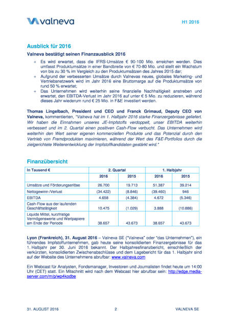 Valneva meldet starkes Umsatzwachstum und positives EBITDA im H1 2016, Seite 2/11, komplettes Dokument unter http://boerse-social.com/static/uploads/file_1690_valneva_meldet_starkes_umsatzwachstum_und_positives_ebitda_im_h1_2016.pdf (31.08.2016)