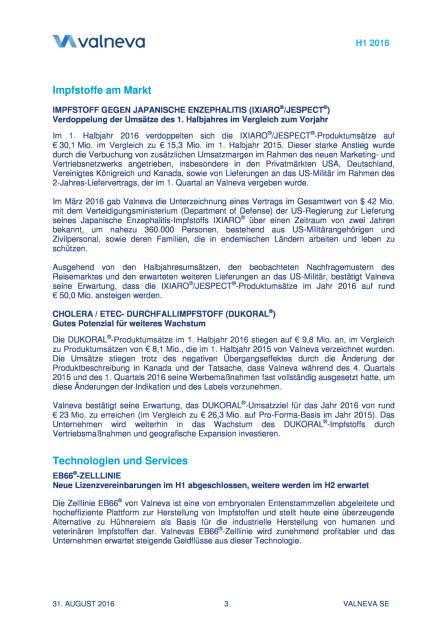 Valneva meldet starkes Umsatzwachstum und positives EBITDA im H1 2016, Seite 3/11, komplettes Dokument unter http://boerse-social.com/static/uploads/file_1690_valneva_meldet_starkes_umsatzwachstum_und_positives_ebitda_im_h1_2016.pdf (31.08.2016)