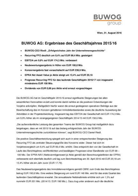 Buwog AG: Ergebnisse des Geschäftsjahres 2015/16 , Seite 1/4, komplettes Dokument unter http://boerse-social.com/static/uploads/file_1693_buwog_ag_ergebnisse_des_geschaftsjahres_201516.pdf (31.08.2016)