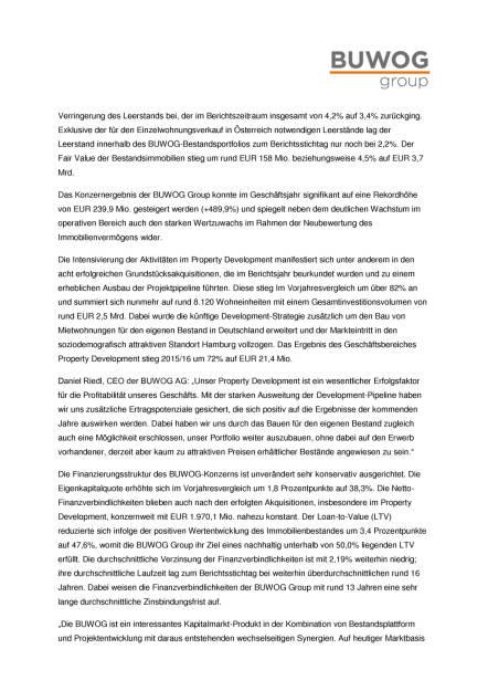 Buwog AG: Ergebnisse des Geschäftsjahres 2015/16 , Seite 2/4, komplettes Dokument unter http://boerse-social.com/static/uploads/file_1693_buwog_ag_ergebnisse_des_geschaftsjahres_201516.pdf (31.08.2016)