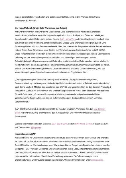 SAP modernisiert Data Warehousing, Seite 3/4, komplettes Dokument unter http://boerse-social.com/static/uploads/file_1697_sap_modernisiert_data_warehousing.pdf (31.08.2016)