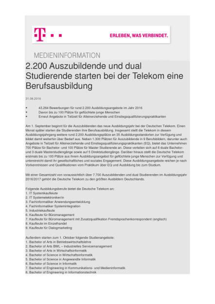 Deutsche Telekom: 2.200 Auszubildende und dual Studierende starten eine Berufsausbildung, Seite 1/2, komplettes Dokument unter http://boerse-social.com/static/uploads/file_1699_deutsche_telekom_2200_auszubildende_und_dual_studierende_starten_eine_berufsausbildung.pdf (31.08.2016)