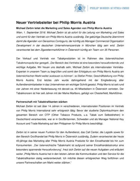 Philip Morris Austria: Michael Zerbin ist neuer Vertriebsleiter, Seite 1/2, komplettes Dokument unter http://boerse-social.com/static/uploads/file_1703_philip_morris_austria_michael_zerbin_ist_neuer_vertriebsleiter.pdf (01.09.2016)
