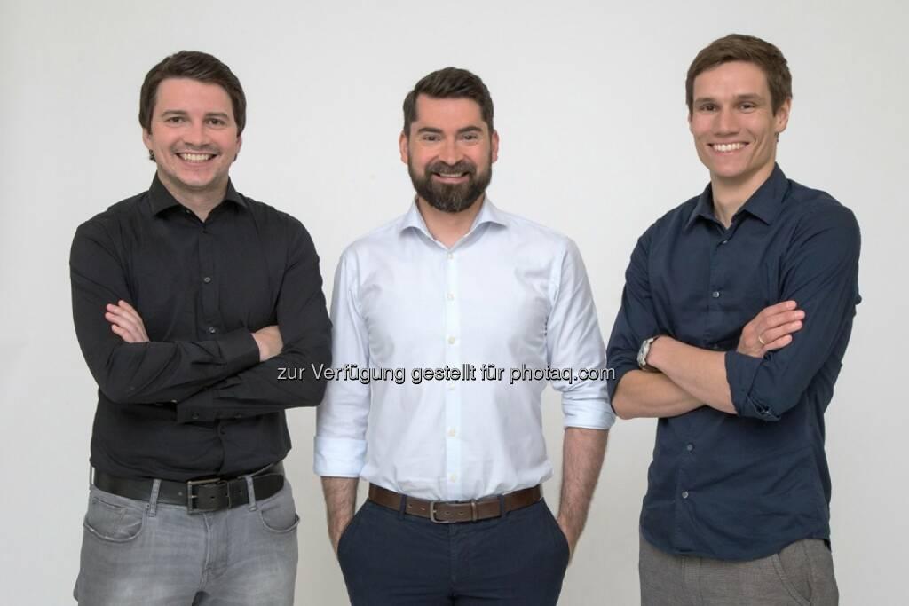 Jörg Skornschek, Daniel Strieder, Michael Handler (Gründer cashpresso) : Wiener FinTech cashpresso bietet unabhängigen Dispo – bis zu € 1.500 – direkt am Smartphone : Fotocredit: cashpresso | Credi2 GmbH, © Aussender (09.09.2016)