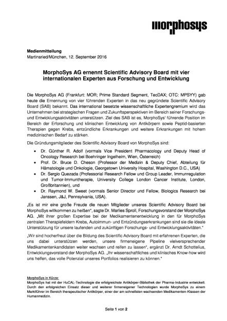 MorphoSys AG: Scientific Advisory Board, Seite 1/2, komplettes Dokument unter http://boerse-social.com/static/uploads/file_1760_morphosys_ag_scientific_advisory_board.pdf (13.09.2016)