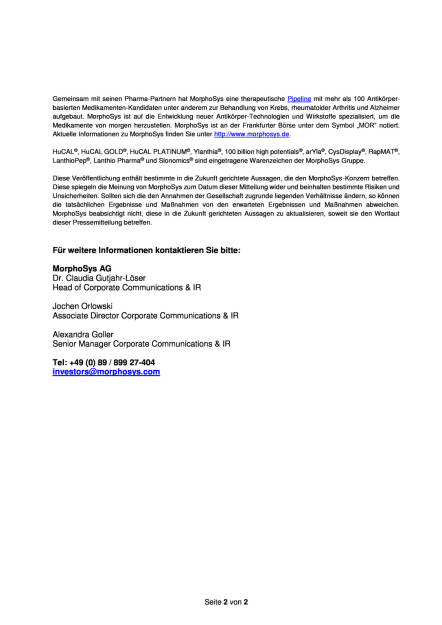 MorphoSys AG: Scientific Advisory Board, Seite 2/2, komplettes Dokument unter http://boerse-social.com/static/uploads/file_1760_morphosys_ag_scientific_advisory_board.pdf (13.09.2016)