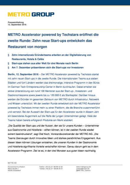 Metro Accelerator powered by Techstars: 2 Runde, Seite 1/5, komplettes Dokument unter http://boerse-social.com/static/uploads/file_1764_metro_accelerator_powered_by_techstars_2_runde.pdf (13.09.2016)