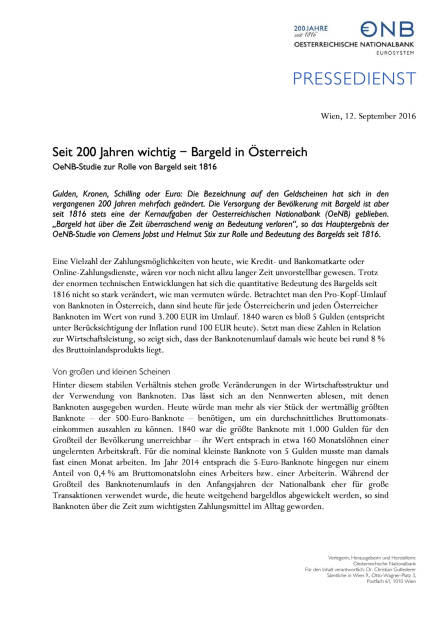 OeNB: Seit 200 Jahren wichtig – Bargeld in Österreich, Seite 1/2, komplettes Dokument unter http://boerse-social.com/static/uploads/file_1763_oenb_seit_200_jahren_wichtig_bargeld_in_osterreich.pdf (13.09.2016)