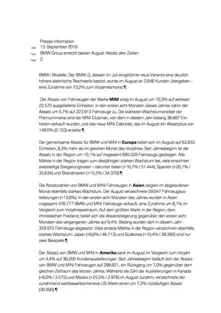BMW Group: Vertriebsmeldung August 2016, Seite 2/4, komplettes Dokument unter http://boerse-social.com/static/uploads/file_1769_bmw_group_vertriebsmeldung_august_2016.pdf (13.09.2016)