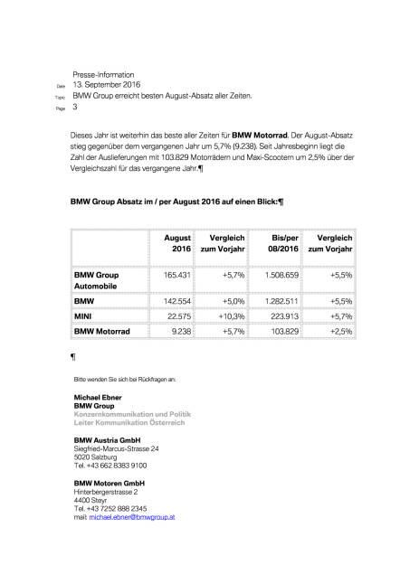 BMW Group: Vertriebsmeldung August 2016, Seite 3/4, komplettes Dokument unter http://boerse-social.com/static/uploads/file_1769_bmw_group_vertriebsmeldung_august_2016.pdf (13.09.2016)