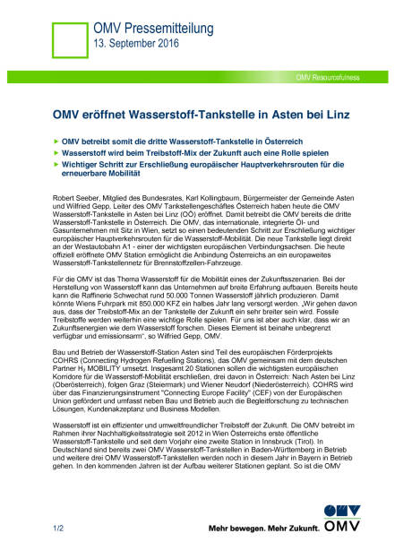 OMV eröffnet Wasserstoff-Tankstelle in Asten bei Linz, Seite 1/2, komplettes Dokument unter http://boerse-social.com/static/uploads/file_1771_omv_eröffnet_wasserstoff-tankstelle_in_asten_bei_linz.pdf (13.09.2016)