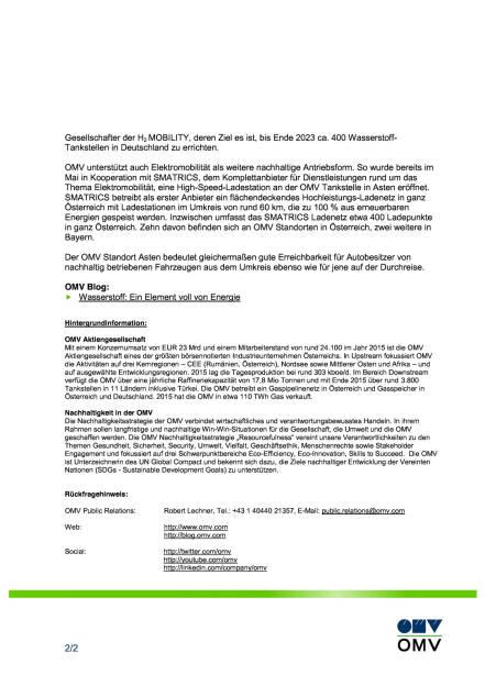 OMV eröffnet Wasserstoff-Tankstelle in Asten bei Linz, Seite 2/2, komplettes Dokument unter http://boerse-social.com/static/uploads/file_1771_omv_eröffnet_wasserstoff-tankstelle_in_asten_bei_linz.pdf (13.09.2016)