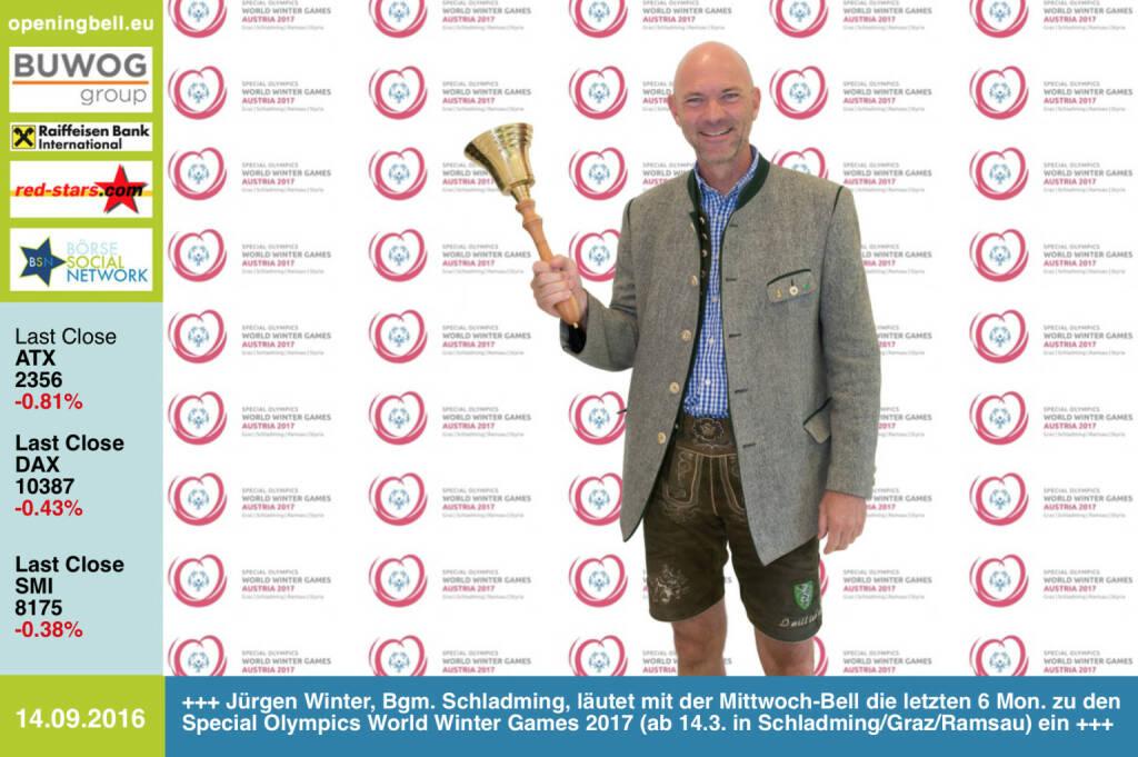 #openingbell am 14.9.: Jürgen Winter, Bürgermeister Schladming, läutet mit der Opening Bell für Mittwoch auch die letzten 6 Monate zu den Special Olympics World Winter Games 2017 (ab 14.3. in Schladming / Graz / Ramsau) ein http://www.austria2017.org http://www.openingbell.eu (14.09.2016)