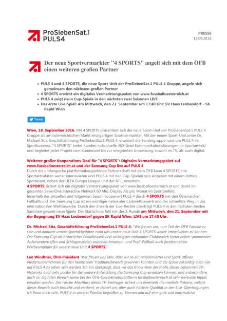 ProSiebenSat.1Puls4: Sportvermarkter 4 Sports wird Partner des ÖFB, Seite 1/2, komplettes Dokument unter http://boerse-social.com/static/uploads/file_1788_prosiebensat1puls4_sportvermarkter_4_sports_wird_partner_des_ofb.pdf (19.09.2016)